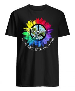 Imagine all the people living life in peace rainbow sunflower LGBTQ pride guy shirt
