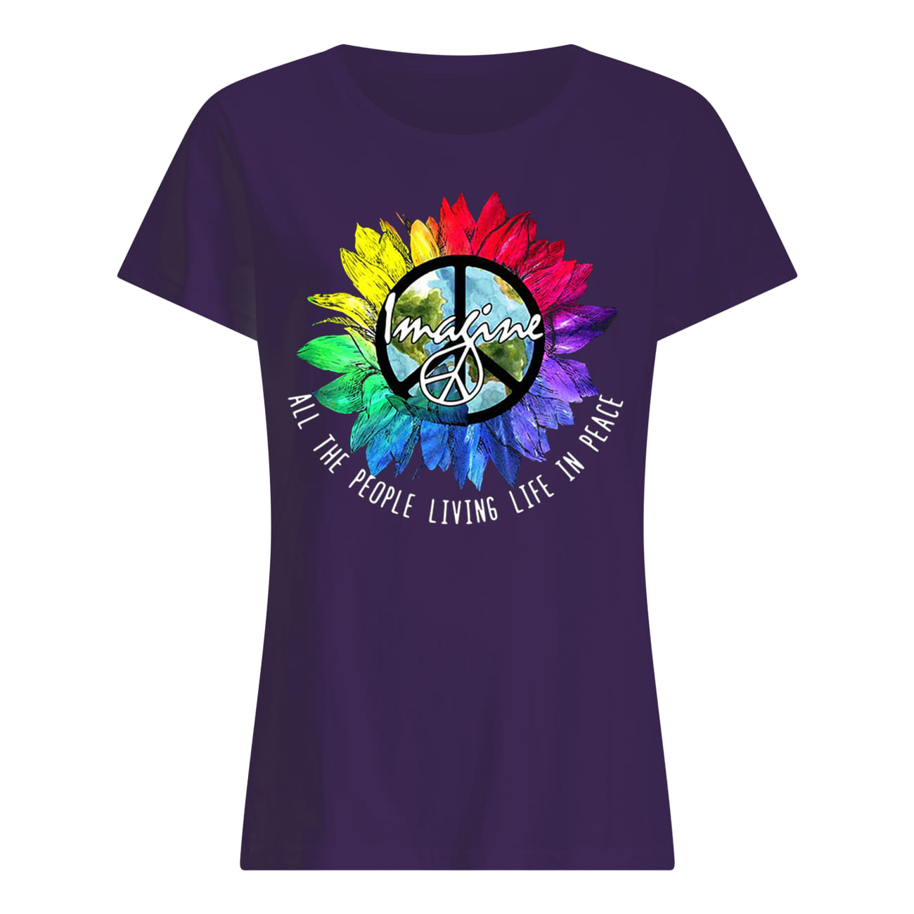 Imagine all the people living life in peace rainbow sunflower LGBTQ pride lady shirt