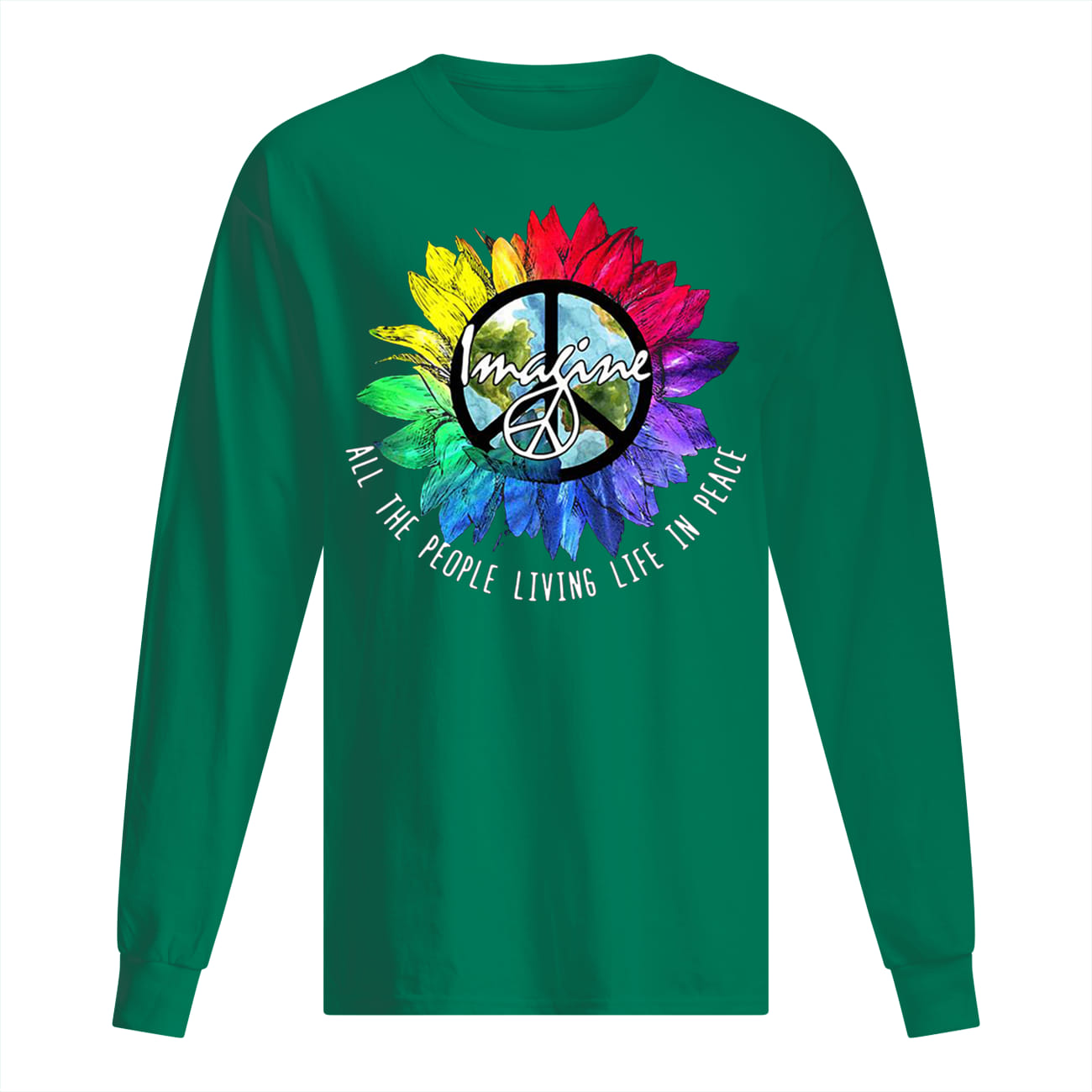 Imagine all the people living life in peace rainbow sunflower LGBTQ pride longsleeve tee