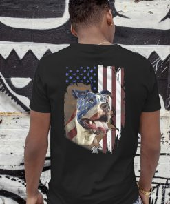 Independence day american flag pitbull shirt