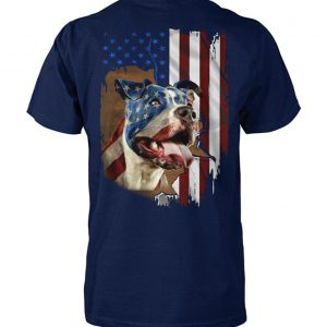 Independence day american flag pitbull unisex cotton tee