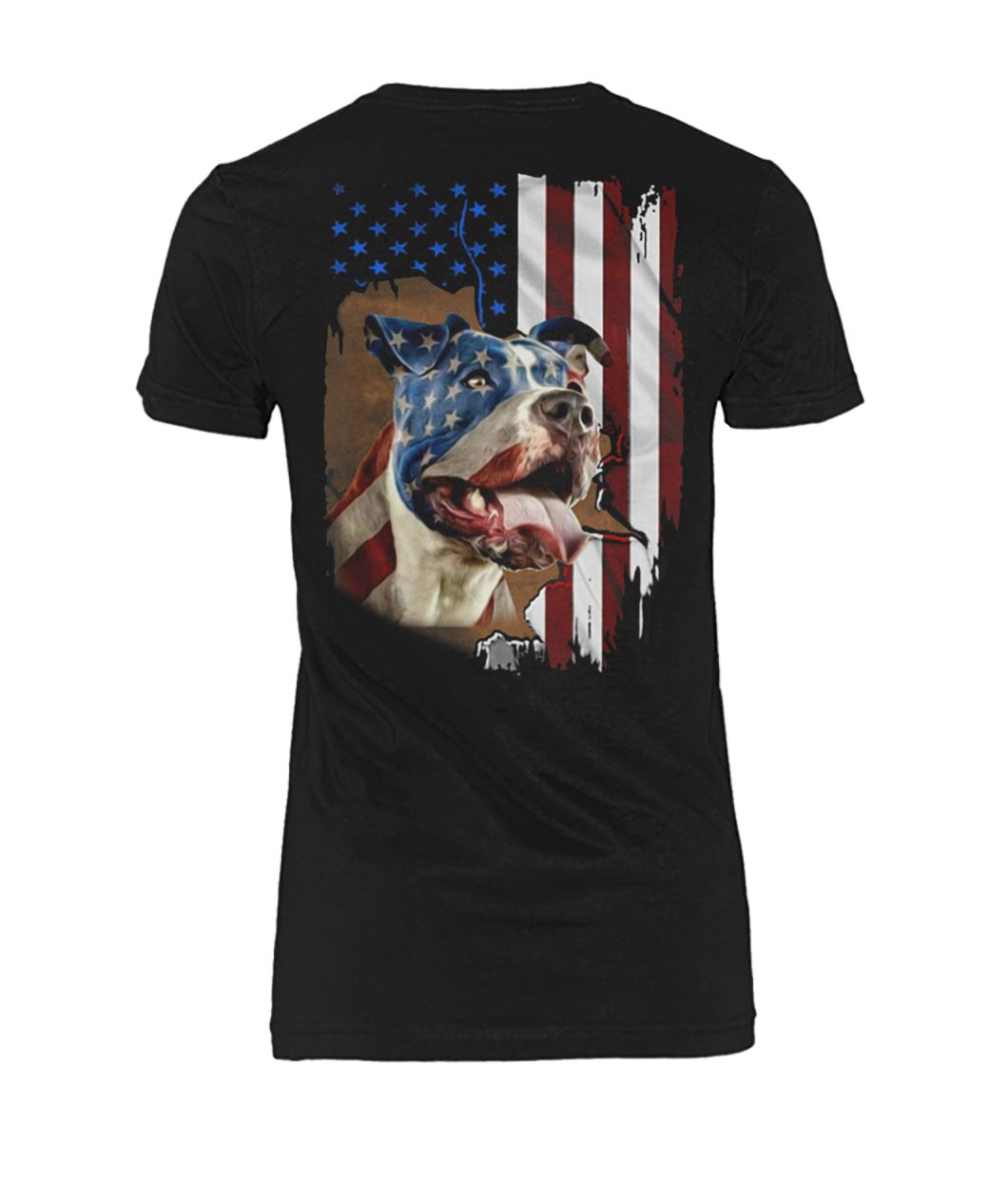 Independence day american flag pitbull women's crew tee