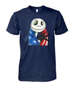 Jack skellington american flag independence day unisex cotton tee