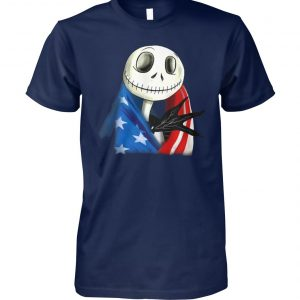 Jack skellington american flag independence day unisex cotton tee
