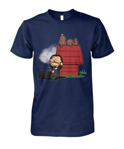 John wick and dog in the style of peanuts charlie brown and snoopy unisex cotton tee