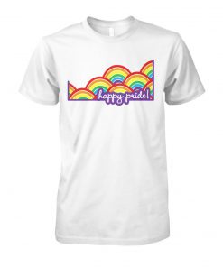 LGBT happy pride rainbow flag unisex cotton tee