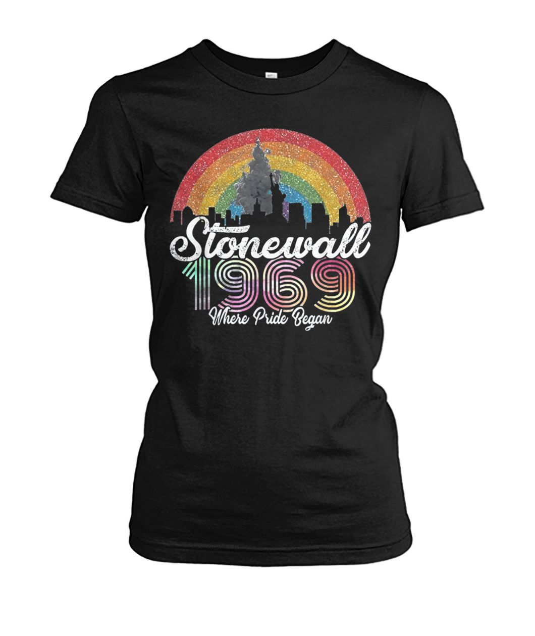 LGBT pride stonewall 1969 where pride began women's crew tee