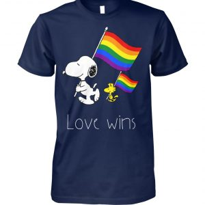 LGBT snoopy and woodstock love wins unisex cotton tee