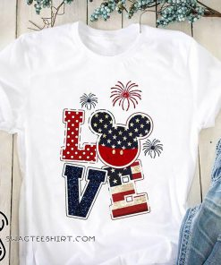 Love mickey mouse american flag 4th of july shirt