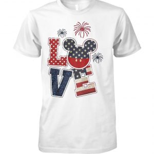 Love mickey mouse american flag 4th of july unisex cotton tee