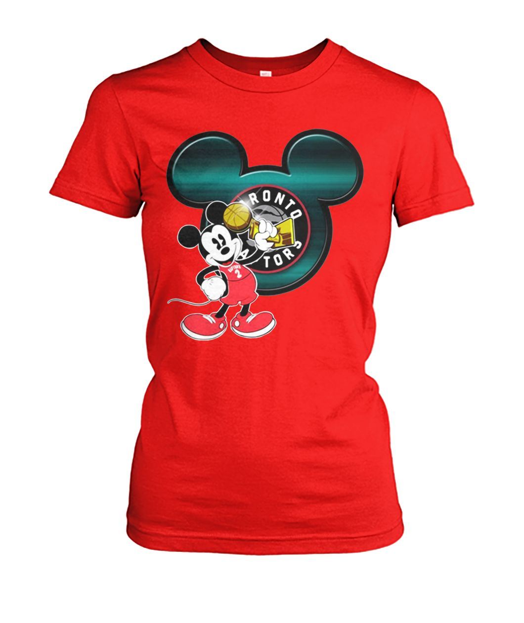 Love toronto raptors and mickey mouse disney women's crew tee