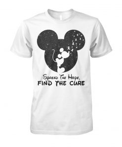 Mickey mouse spread the find the cure breast cancer awareness unisex cotton tee