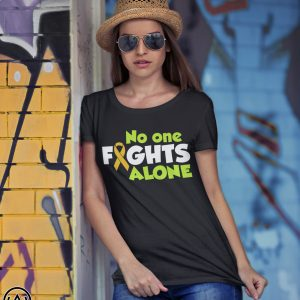 No one fights alone cancer awareness shirt