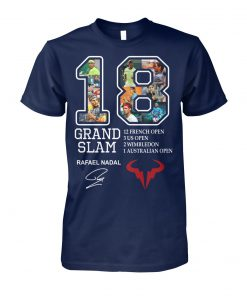 Rafael nadal 18 grand slam 12 french open signature unisex cotton tee