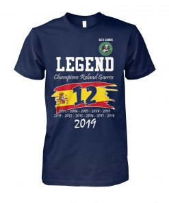 Rafael nadal win 12th legend champion roland garros 2019 unisex cotton tee