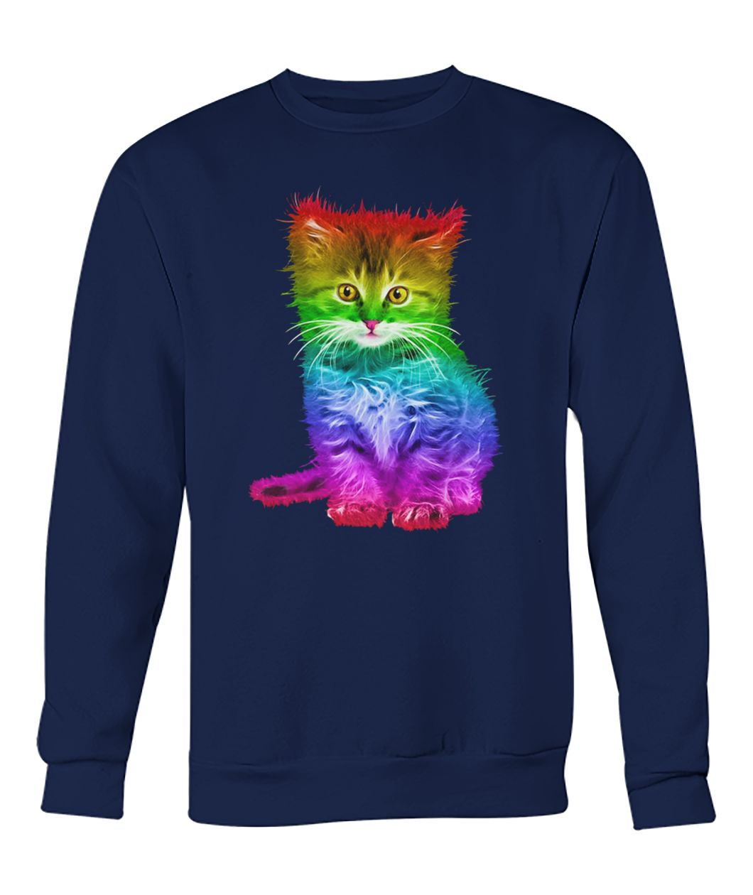 Rainbow cat lgbt gay pride awareness crew neck sweatshirt