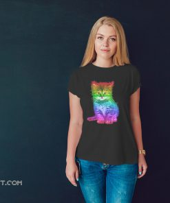 Rainbow cat lgbt gay pride awareness shirt