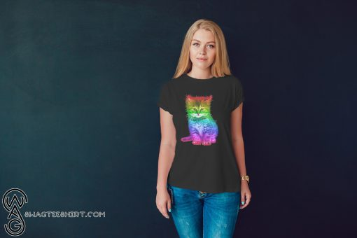 Rainbow cat lgbt gay pride awareness shirt