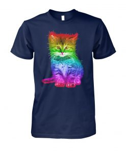 Rainbow cat lgbt gay pride awareness unisex cotton tee