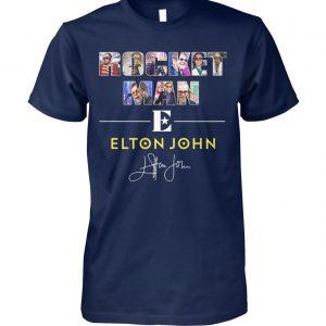 Rocket man elton john signature unisex cotton tee