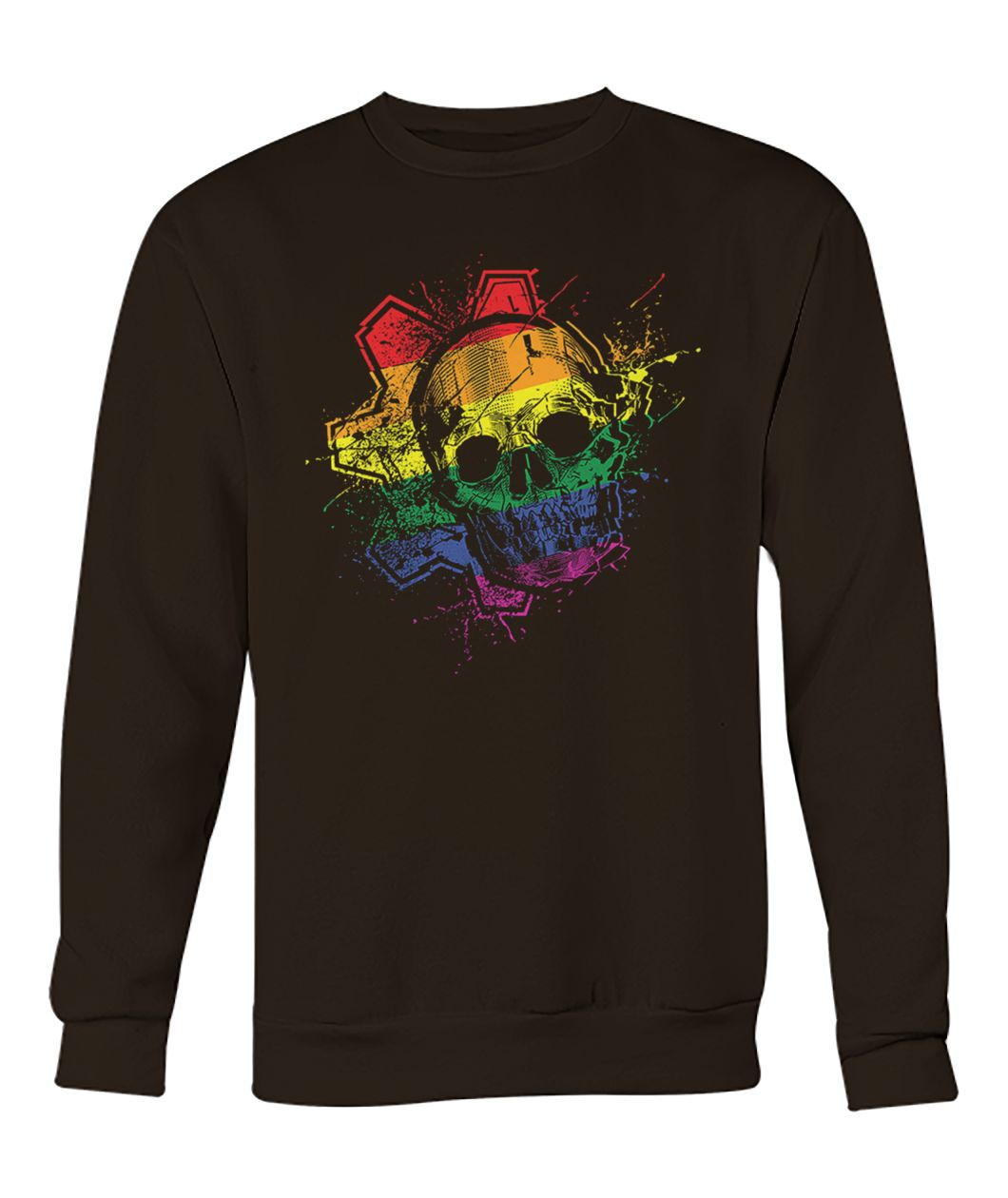 Skull with lgbt flag crew neck sweatshirt
