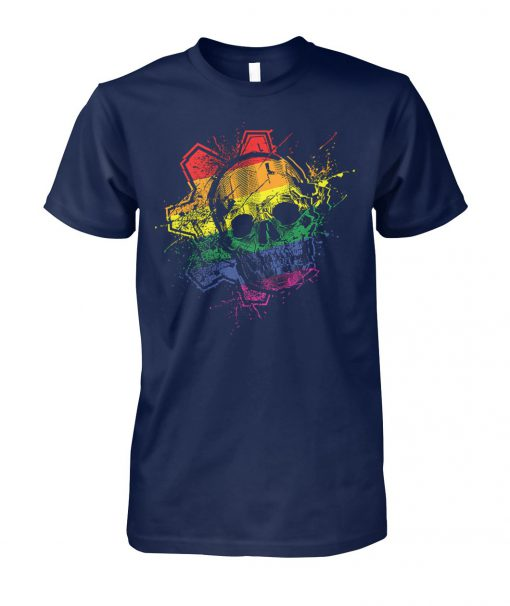 Skull with lgbt flag unisex cotton tee