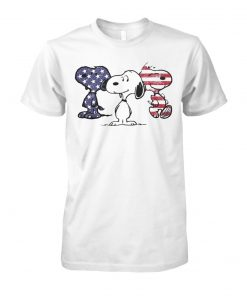 Snoopy america flag 4th of july unisex cotton tee