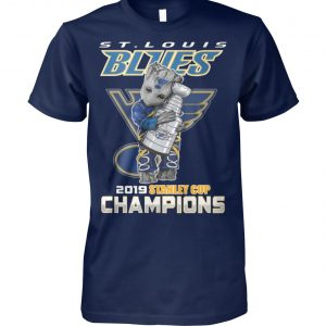St louis blues 2019 baby groot hugs stanley cup champions unisex cotton tee