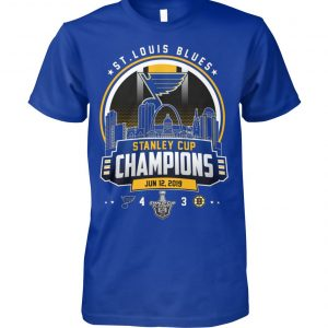 St louis blues 4-3 boston bruins stanley cup champions june 12th 2019 unisex cotton tee