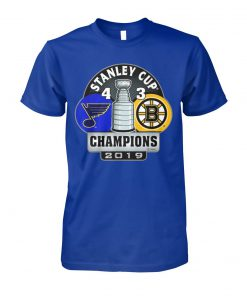Stanley cup champions st louis blues 4 3 boston bruins 2019 unisex cotton tee