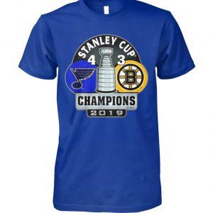 Stanley cup champions st louis blues 4 3 boston bruins 2019 unisex cotton tee