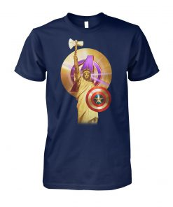 Statue of liberty captain america avengers unisex cotton tee