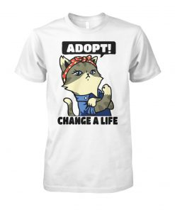 Strong cat lady adopt change a life unisex cotton tee