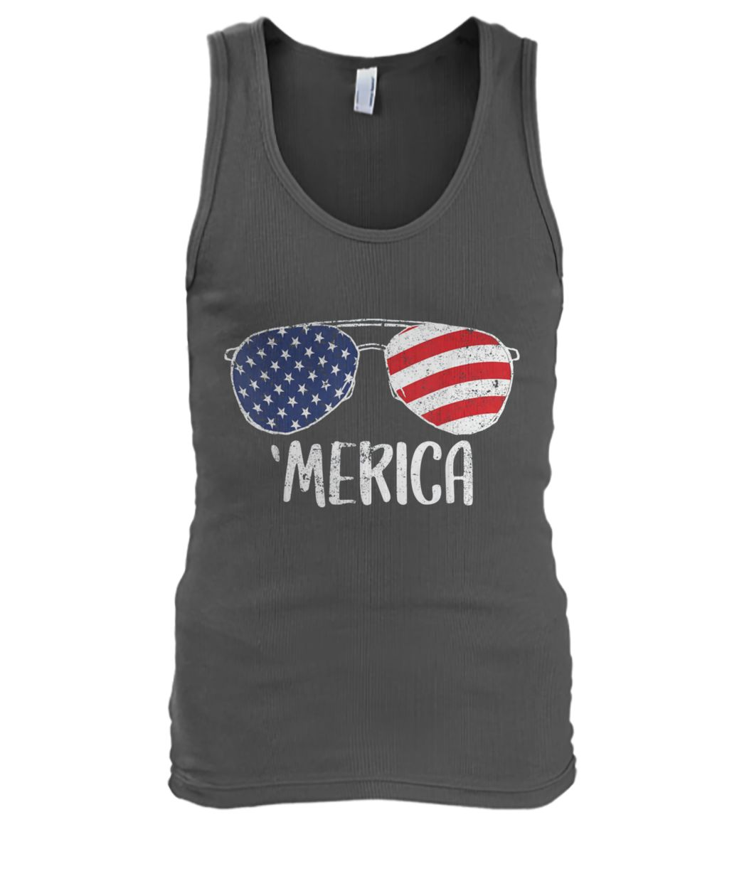 USA flag merica sunglasses 4th of july men's tank top