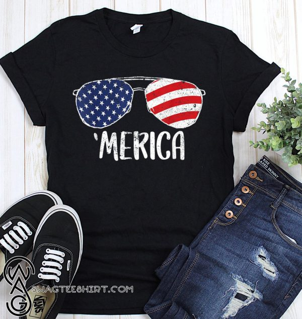 USA flag merica sunglasses 4th of july shirt