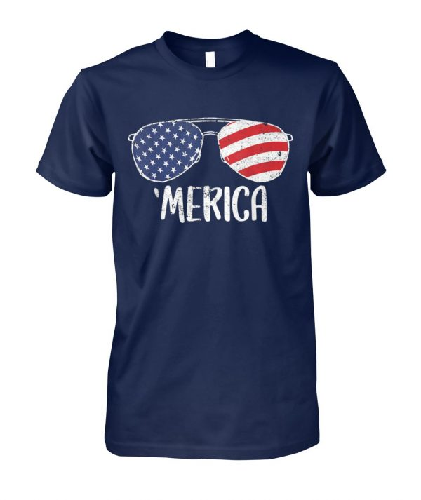 USA flag merica sunglasses 4th of july unisex cotton tee