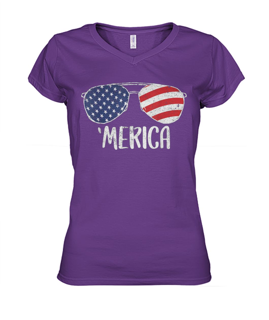 USA flag merica sunglasses 4th of july women's v-neck