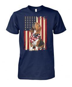 USA patriotic dog basset hound american flag unisex cotton tee