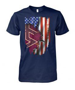Virginia tech hokies inside american flag unisex cotton tee