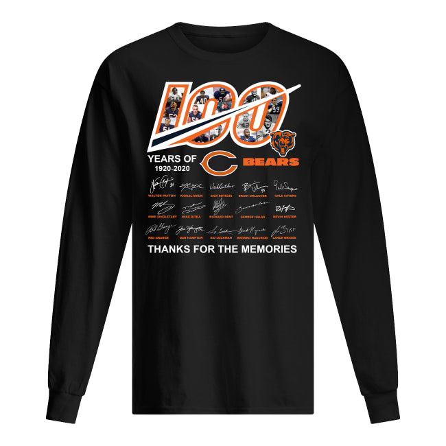 100 year of chicago bears 1920-2020 thanks for the memories signatures men's long sleeved