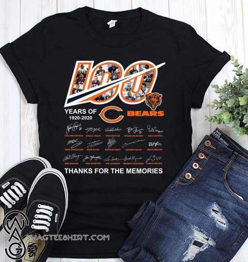 100 year of chicago bears 1920-2020 thanks for the memories signatures shirt