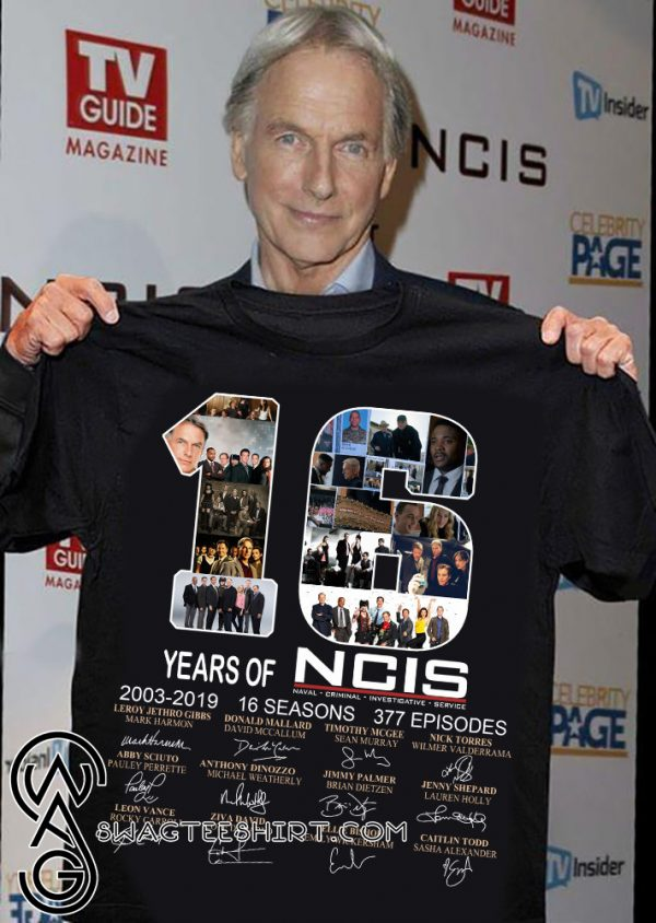 16 years of NCIS 2003-2019 16 seasons 377 episodes signatures shirt
