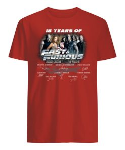 18 years of fast and furious thank you for the memories signatures 2001-2019 9 films men's shirt