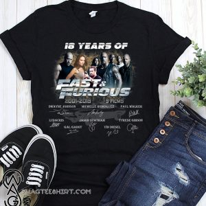 18 years of fast and furious thank you for the memories signatures 2001-2019 9 films shirt