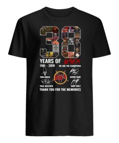 38 years of slayer 1981-2019 we are the champions signatures thank you for the memories men's shirt