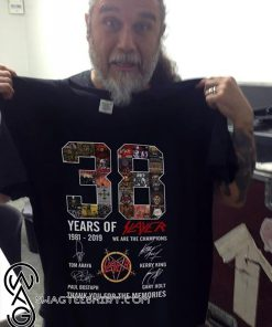 38 years of slayer 1981-2019 we are the champions signatures thank you for the memories shirt