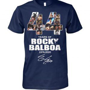 44 years of rocky balboa 1976 2020 signature unisex cotton tee