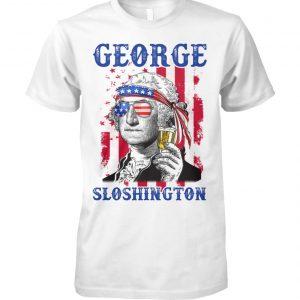 4th of july george sloshington american flag beer george washington unisex cotton tee