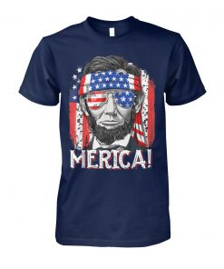 4th of july merica abe lincoln unisex cotton tee