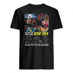 53 years of star trek 1966-2019 signatures thank you for the memories men's shirt